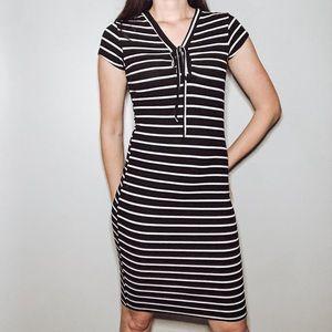 Forever 21 Striped Bodycon Dress Black & White